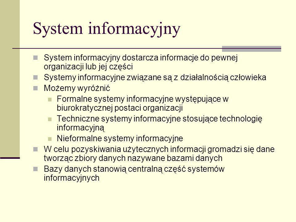 System informacyjny System informacyjny dostarcza informacje do pewnej organizacji lub jej części.