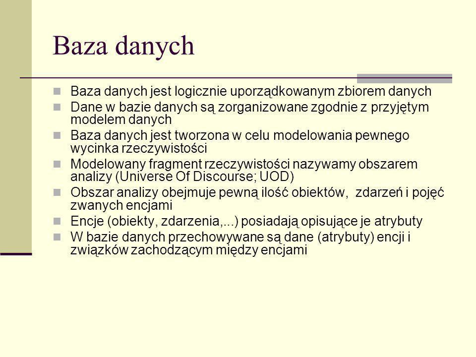 Baza danych Baza danych jest logicznie uporządkowanym zbiorem danych