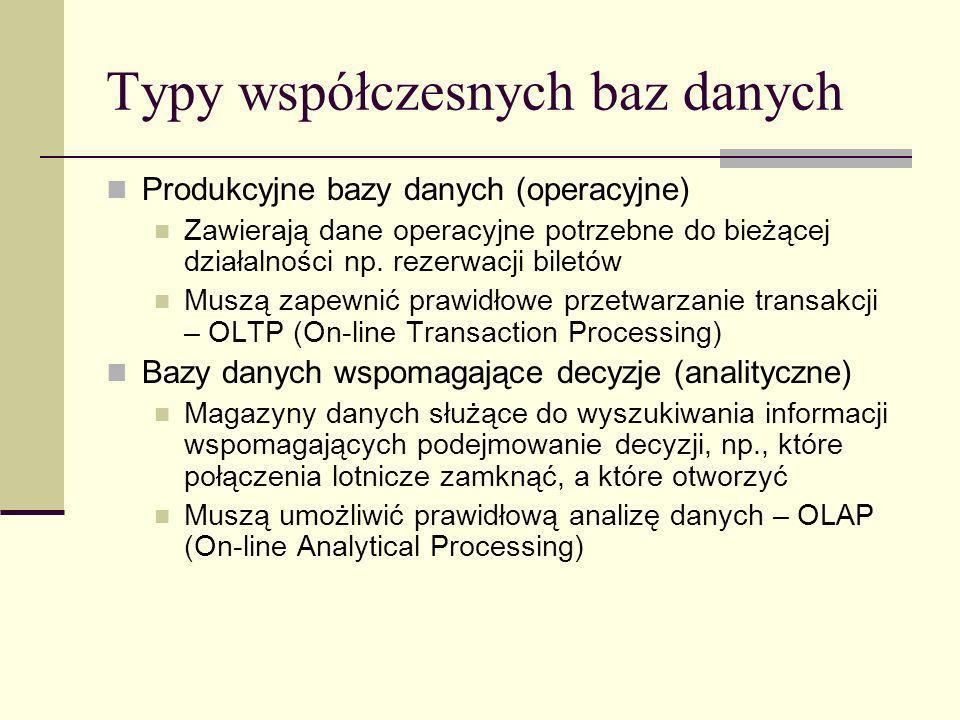 Typy współczesnych baz danych