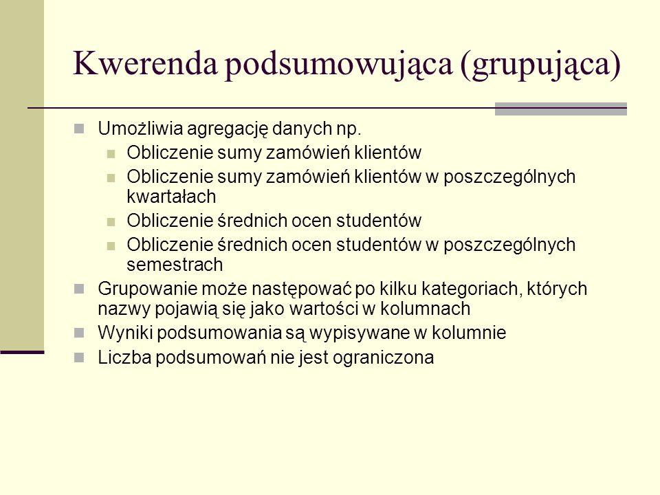 Kwerenda podsumowująca (grupująca)