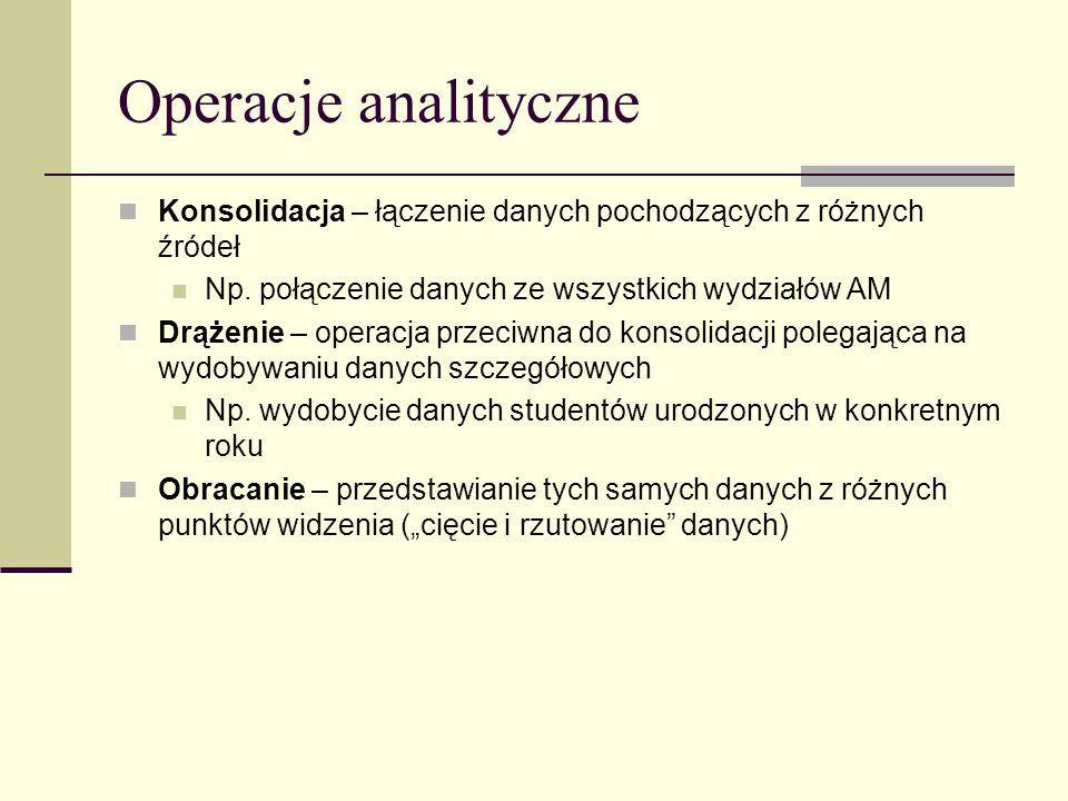 Operacje analityczne Konsolidacja – łączenie danych pochodzących z różnych źródeł. Np. połączenie danych ze wszystkich wydziałów AM.