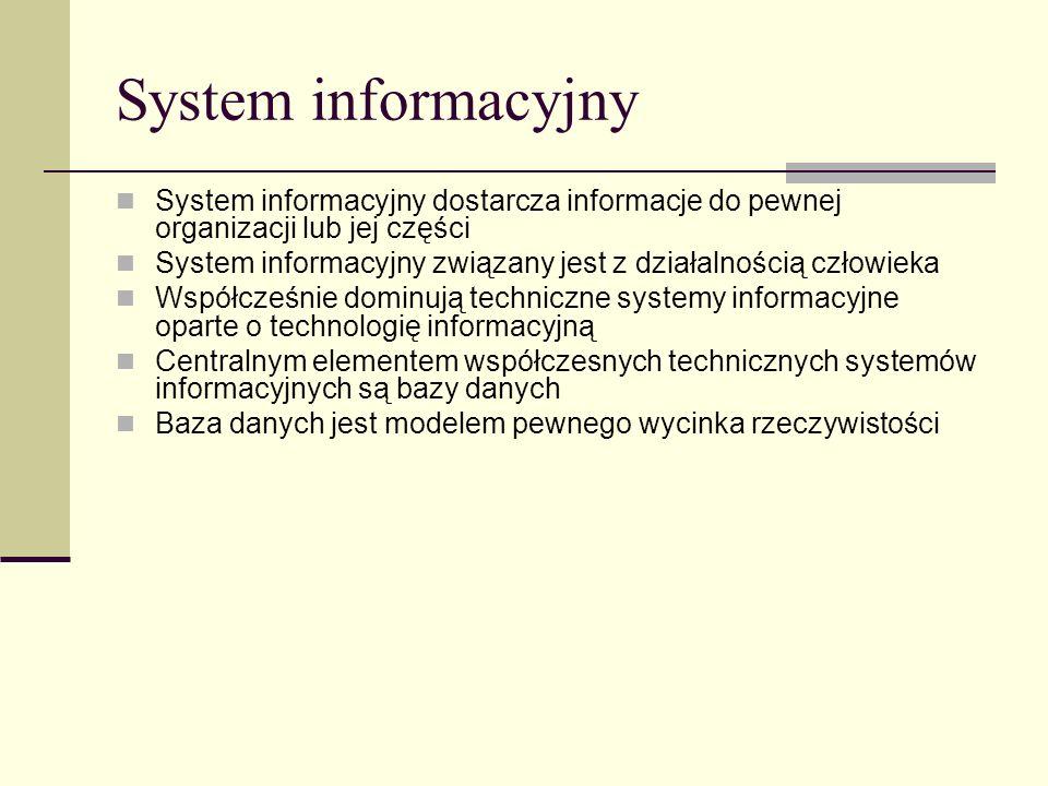 System informacyjnySystem informacyjny dostarcza informacje do pewnej organizacji lub jej części.
