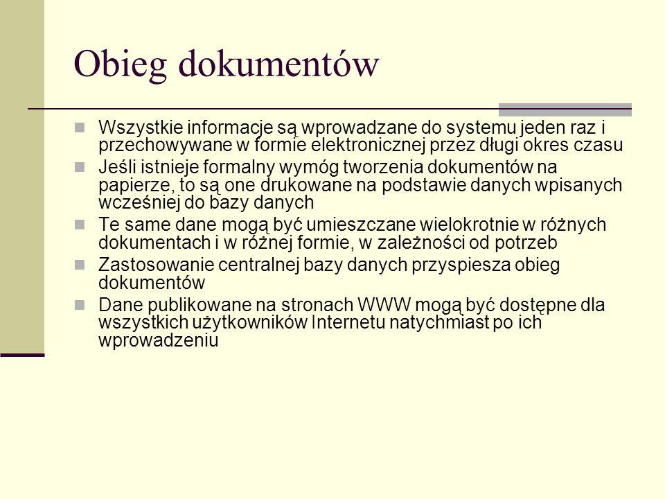 Obieg dokumentów Wszystkie informacje są wprowadzane do systemu jeden raz i przechowywane w formie elektronicznej przez długi okres czasu.