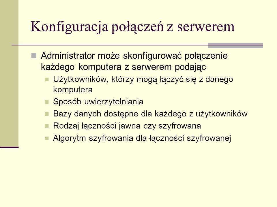Konfiguracja połączeń z serwerem