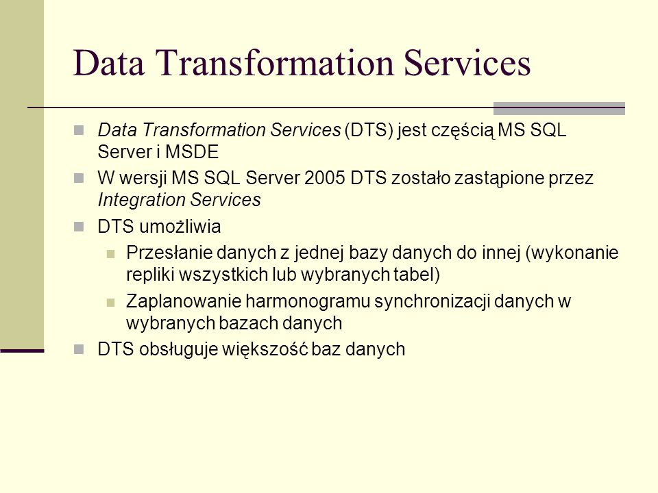 Data Transformation Services