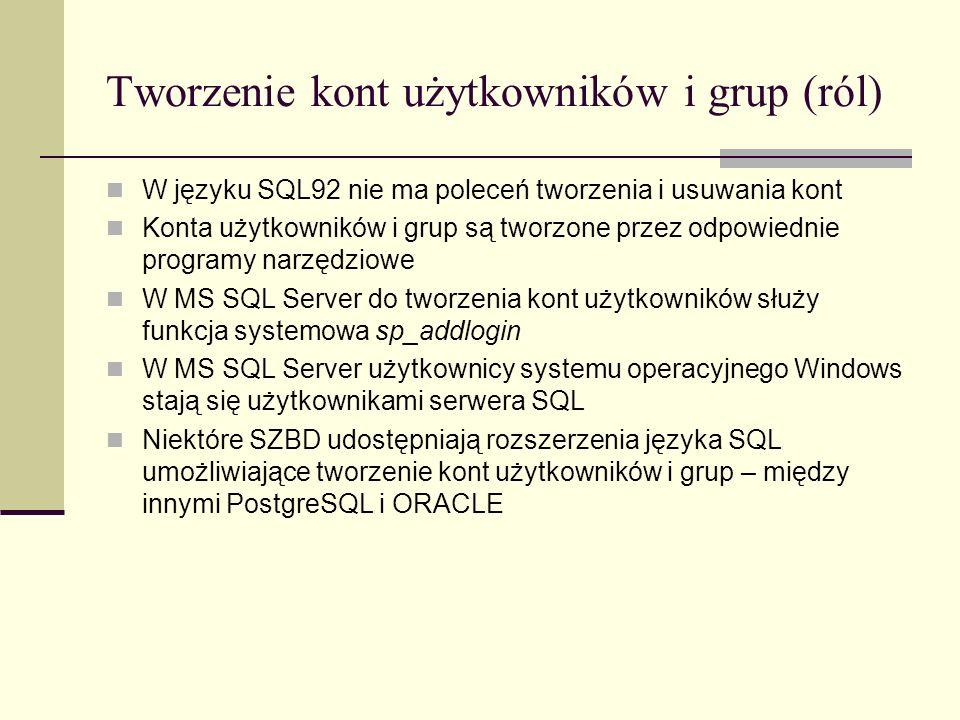 Tworzenie kont użytkowników i grup (ról)