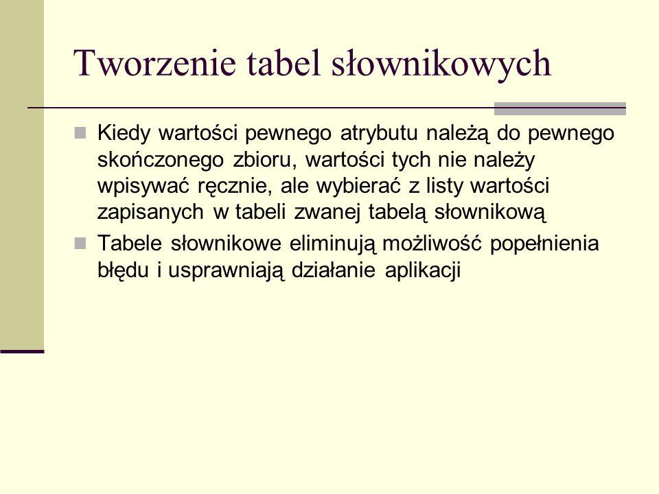 Tworzenie tabel słownikowych