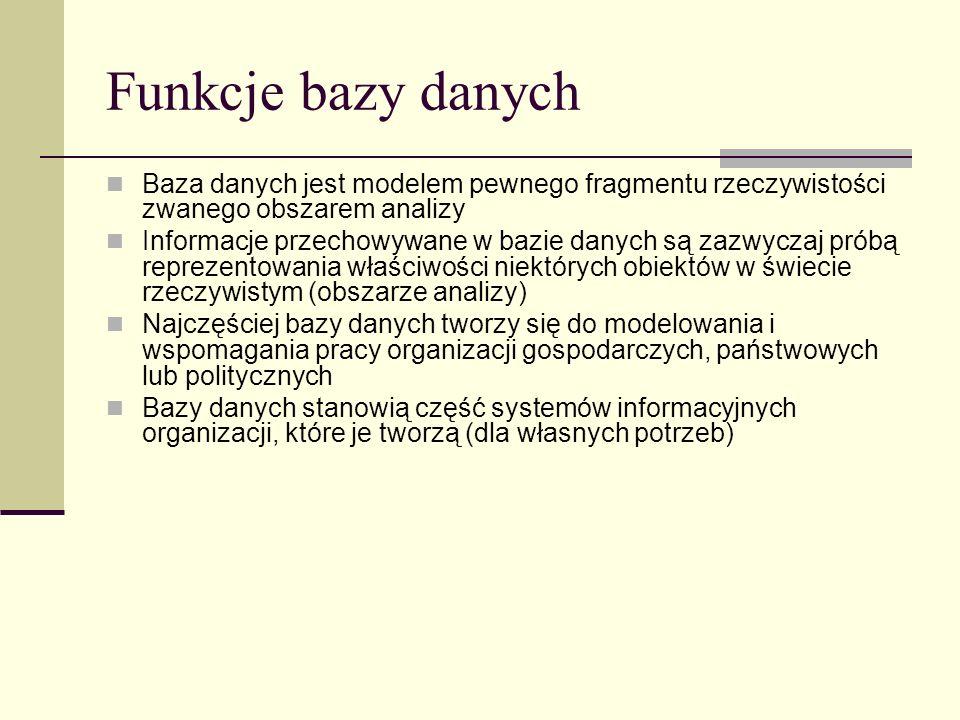 Funkcje bazy danych Baza danych jest modelem pewnego fragmentu rzeczywistości zwanego obszarem analizy.