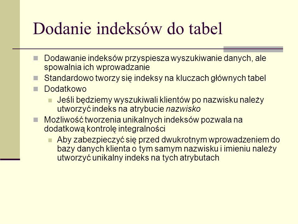 Dodanie indeksów do tabel