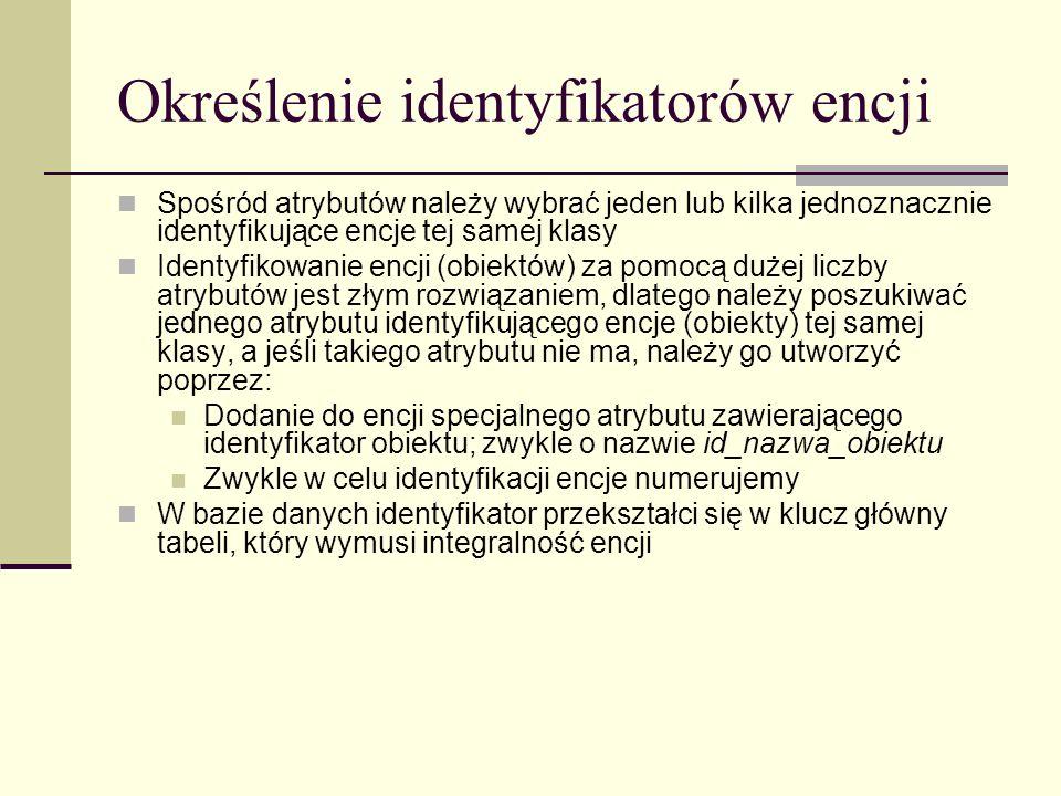 Określenie identyfikatorów encji