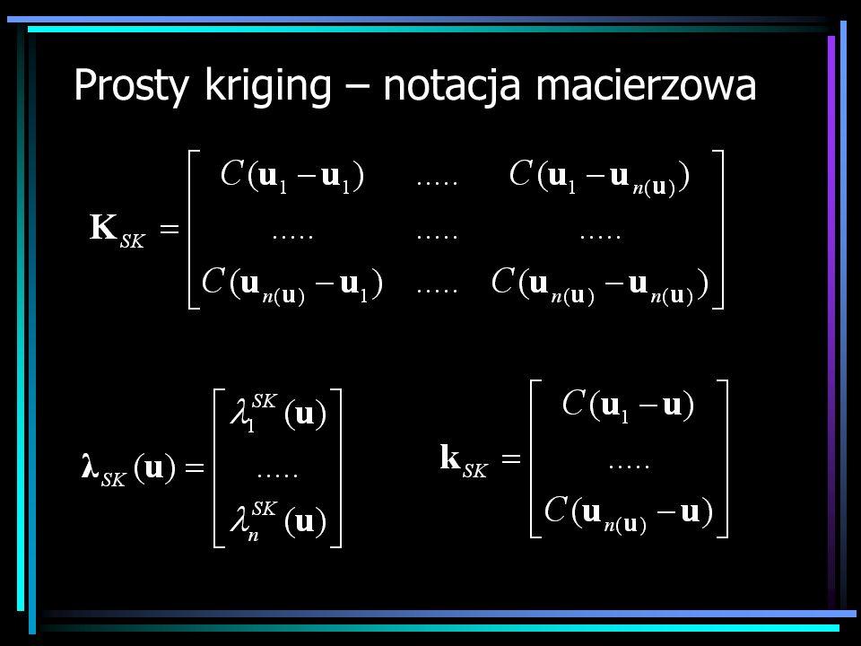 Prosty kriging – notacja macierzowa