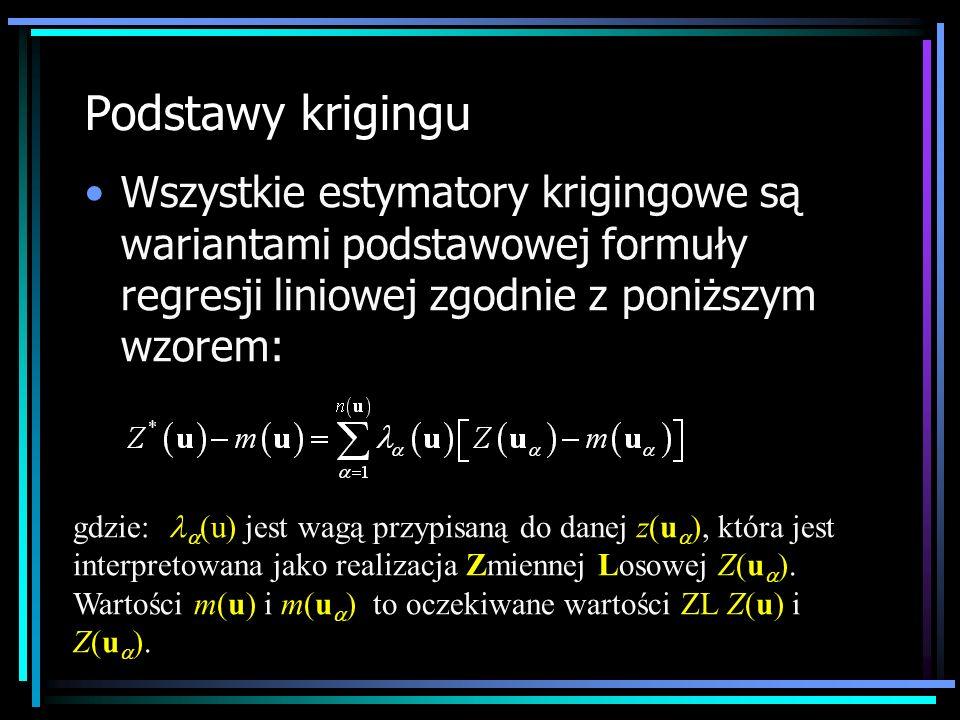 Podstawy krigingu Wszystkie estymatory krigingowe są wariantami podstawowej formuły regresji liniowej zgodnie z poniższym wzorem: