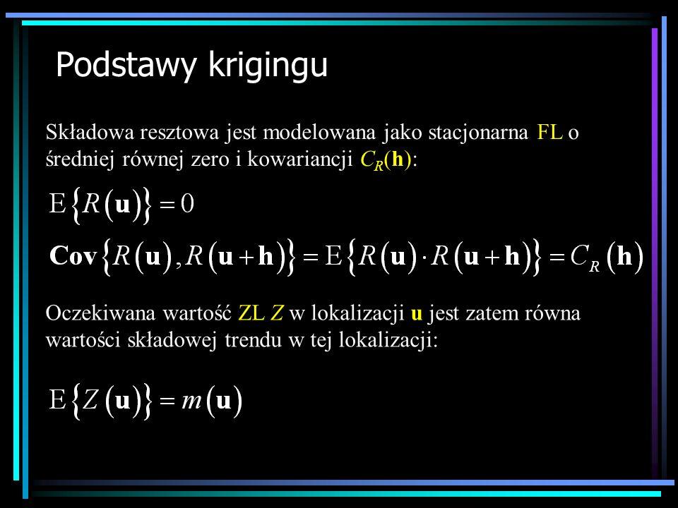 Podstawy krigingu Składowa resztowa jest modelowana jako stacjonarna FL o średniej równej zero i kowariancji CR(h):