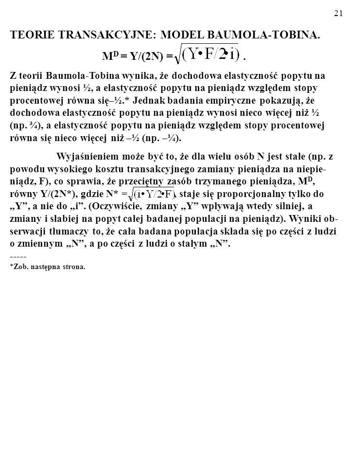 TEORIE TRANSAKCYJNE: MODEL BAUMOLA-TOBINA. MD = Y/(2N) = .
