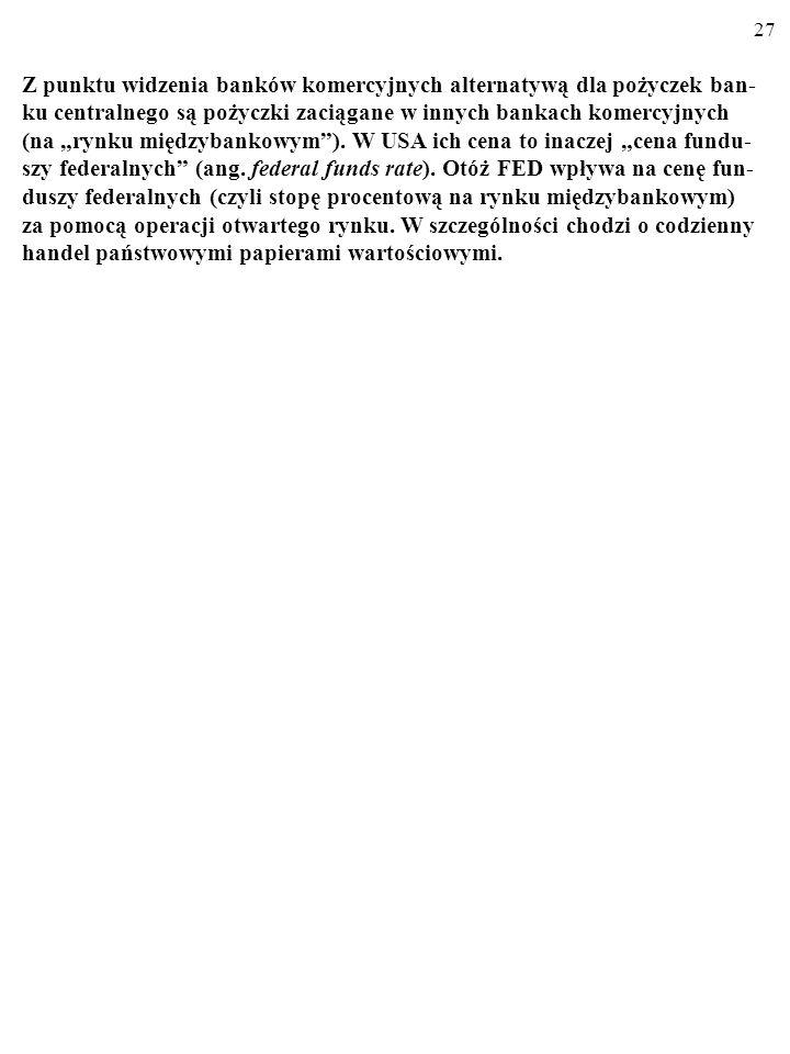 """Z punktu widzenia banków komercyjnych alternatywą dla pożyczek ban-ku centralnego są pożyczki zaciągane w innych bankach komercyjnych (na """"rynku międzybankowym )."""