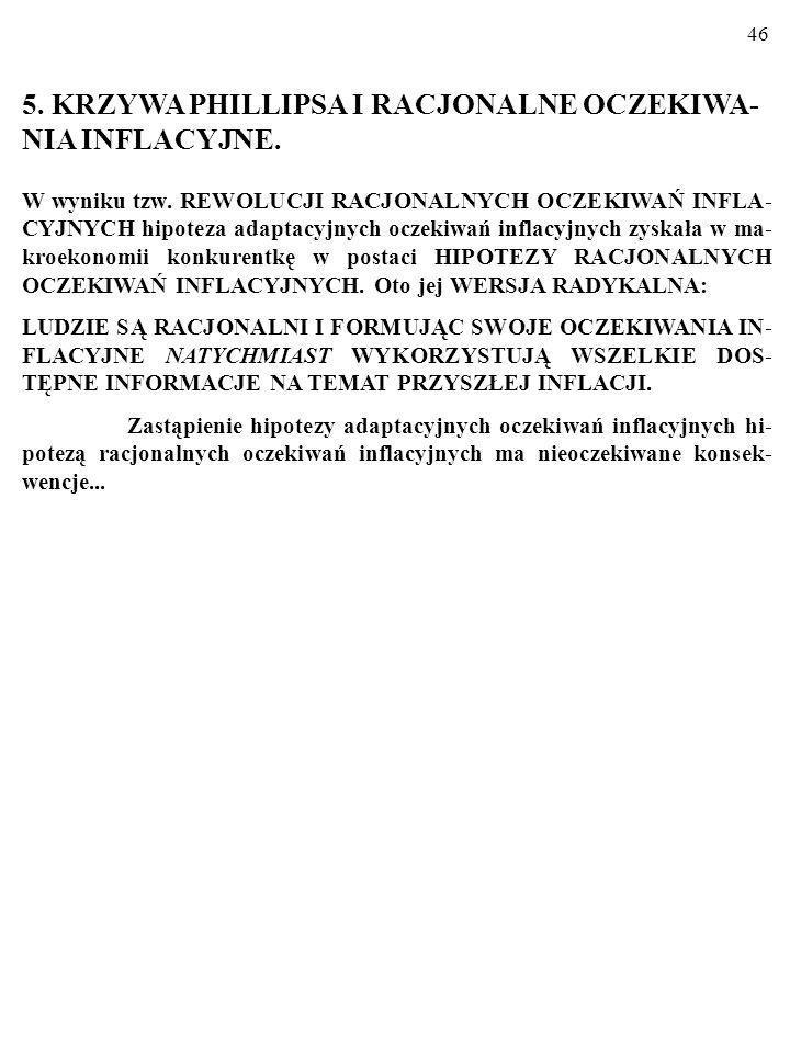 5. KRZYWA PHILLIPSA I RACJONALNE OCZEKIWA-NIA INFLACYJNE.
