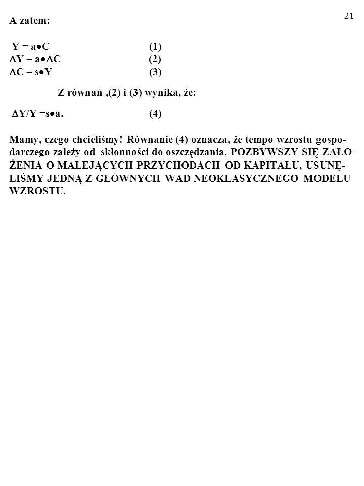 A zatem: Y = aC. (1) Y = aC (2) C = sY. (3)