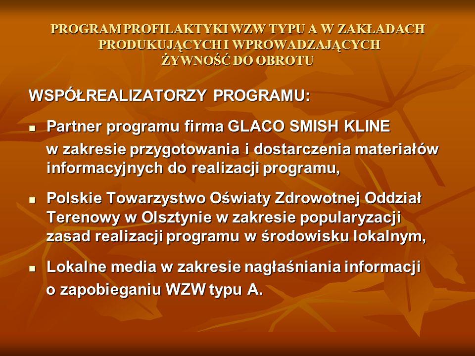 WSPÓŁREALIZATORZY PROGRAMU: Partner programu firma GLACO SMISH KLINE