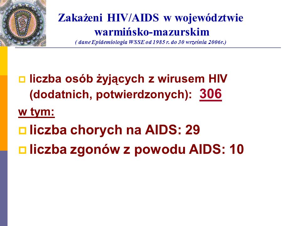 liczba chorych na AIDS: 29 liczba zgonów z powodu AIDS: 10