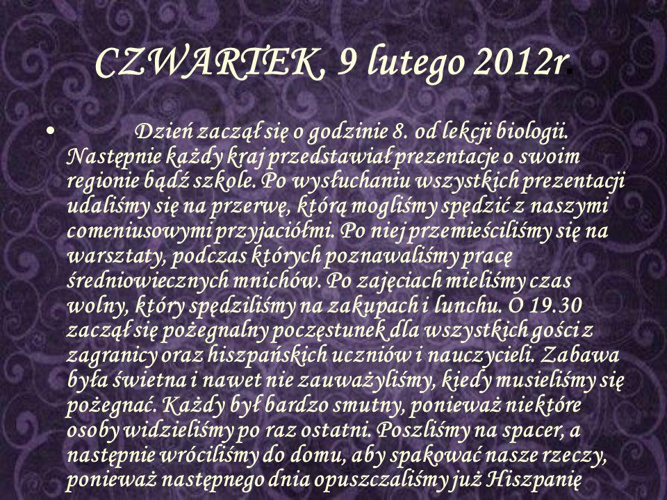 CZWARTEK, 9 lutego 2012r.