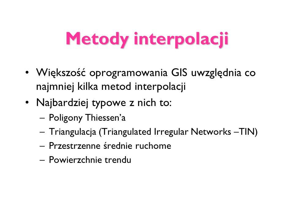 Metody interpolacji Większość oprogramowania GIS uwzględnia co najmniej kilka metod interpolacji. Najbardziej typowe z nich to: