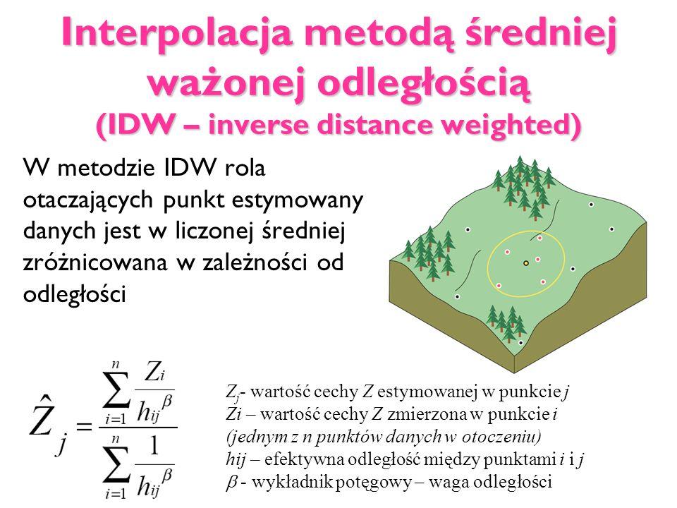 Interpolacja metodą średniej ważonej odległością (IDW – inverse distance weighted)