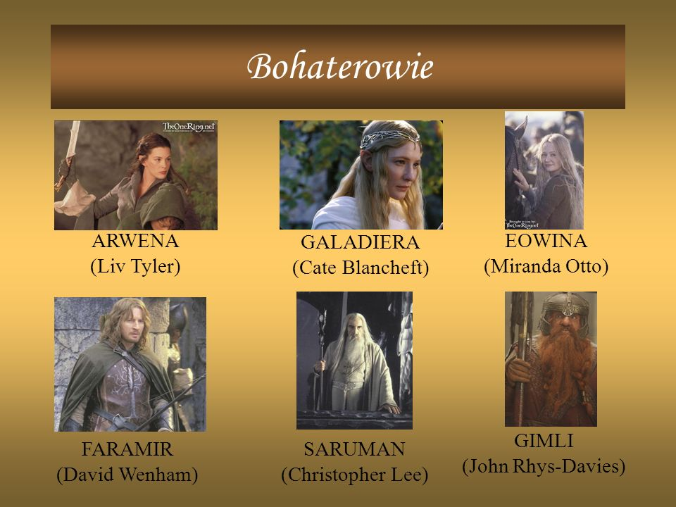 Bohaterowie ARWENA (Liv Tyler) GALADIERA (Cate Blancheft) EOWINA