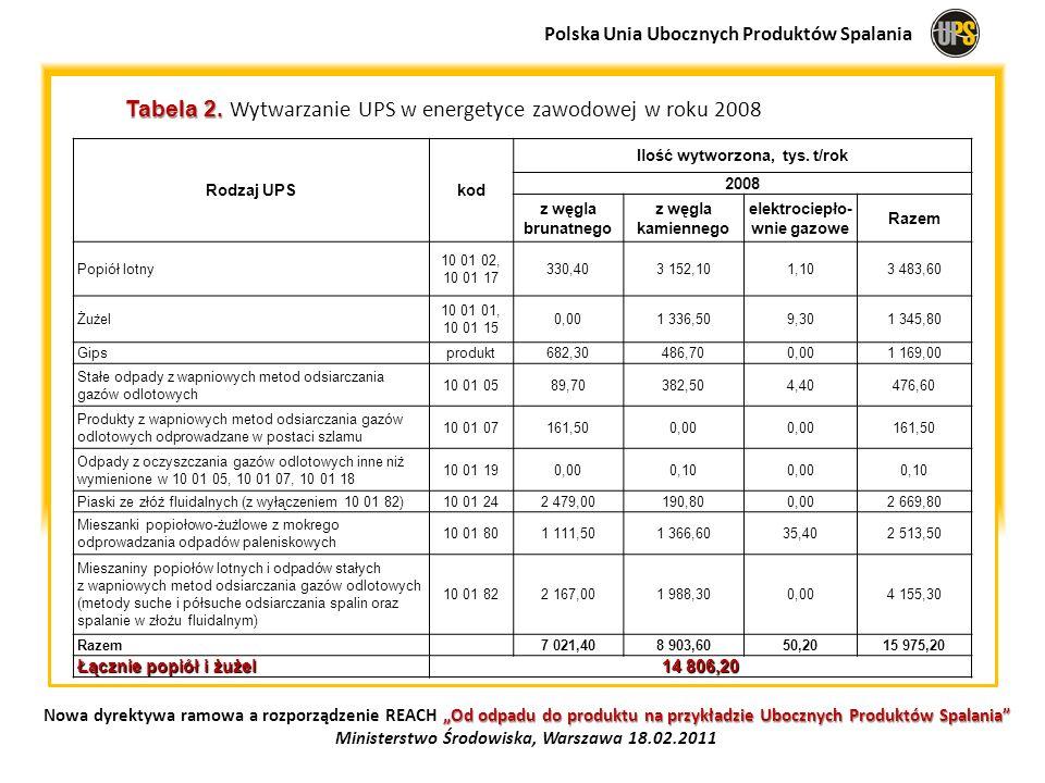 Tabela 2. Wytwarzanie UPS w energetyce zawodowej w roku 2008