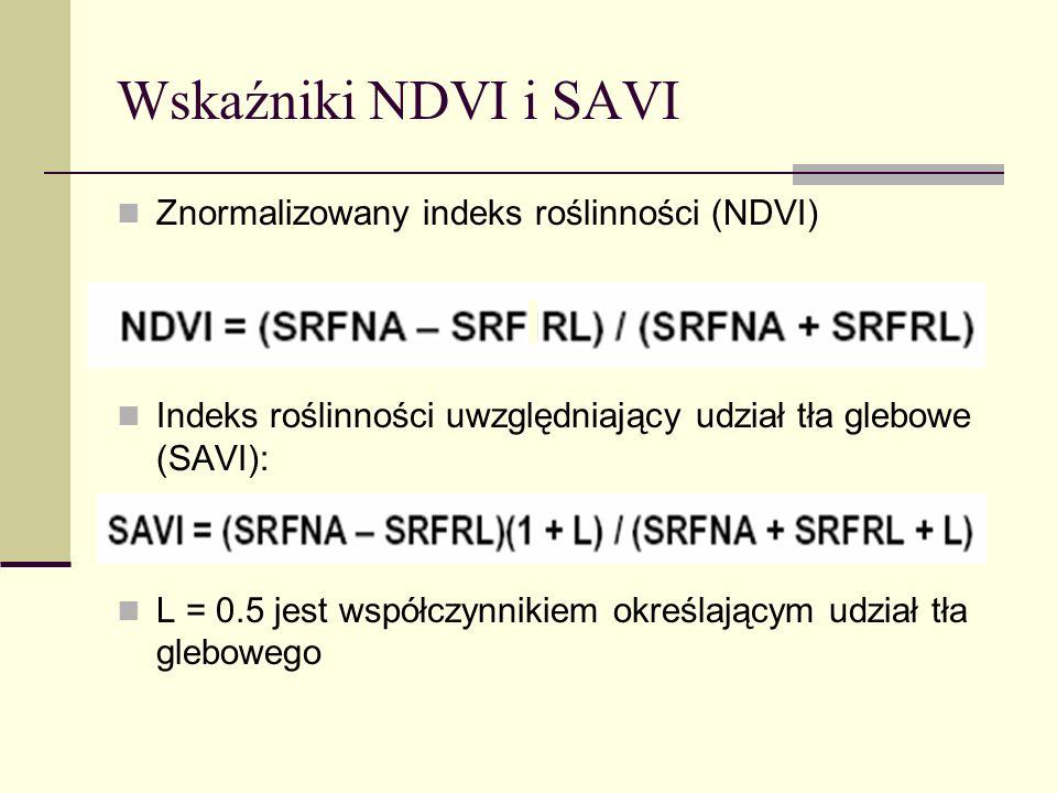 Wskaźniki NDVI i SAVI Znormalizowany indeks roślinności (NDVI)