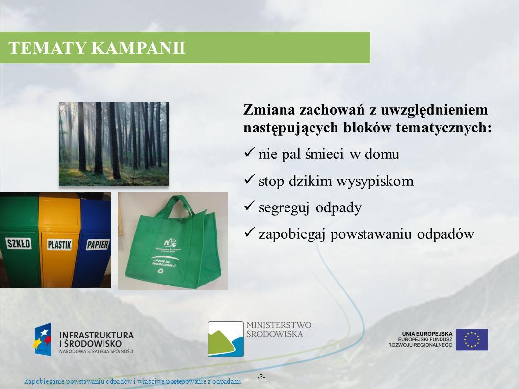 TEMATY KAMPANIIZmiana zachowań z uwzględnieniem następujących bloków tematycznych: nie pal śmieci w domu.