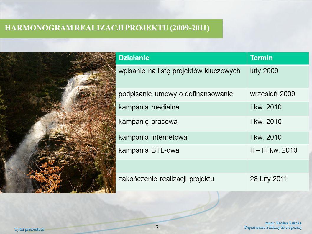 HARMONOGRAM REALIZACJI PROJEKTU (2009-2011)