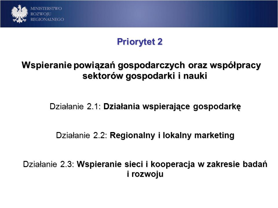 Priorytet 2 Wspieranie powiązań gospodarczych oraz współpracy sektorów gospodarki i nauki.