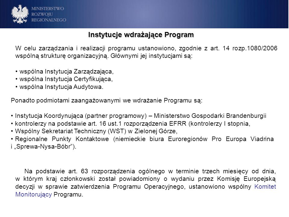 Instytucje wdrażające Program