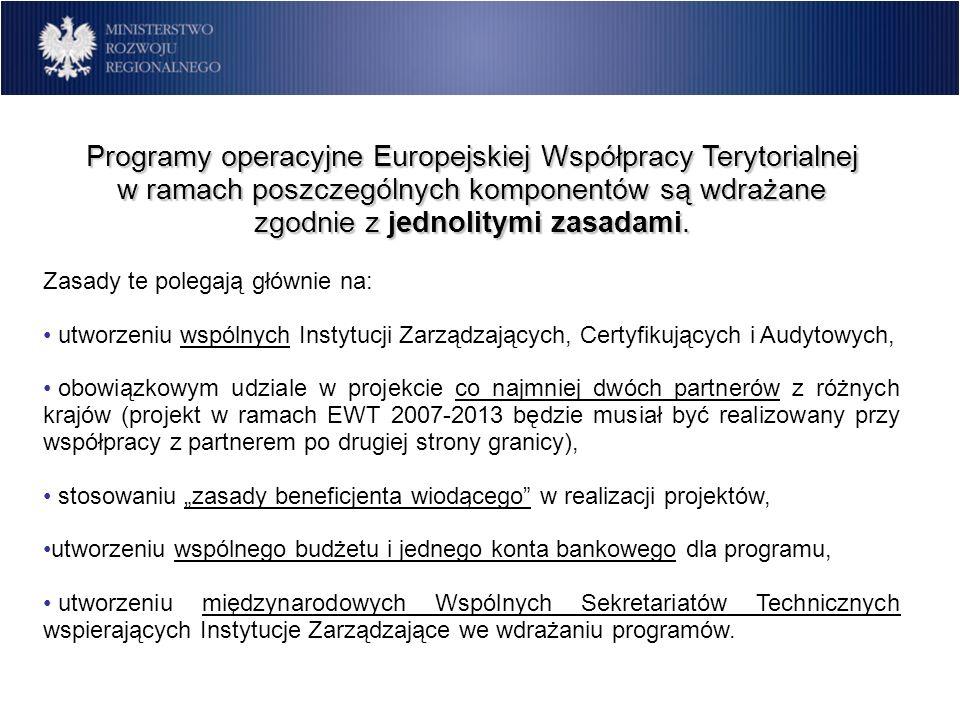 Programy operacyjne Europejskiej Współpracy Terytorialnej w ramach poszczególnych komponentów są wdrażane zgodnie z jednolitymi zasadami.