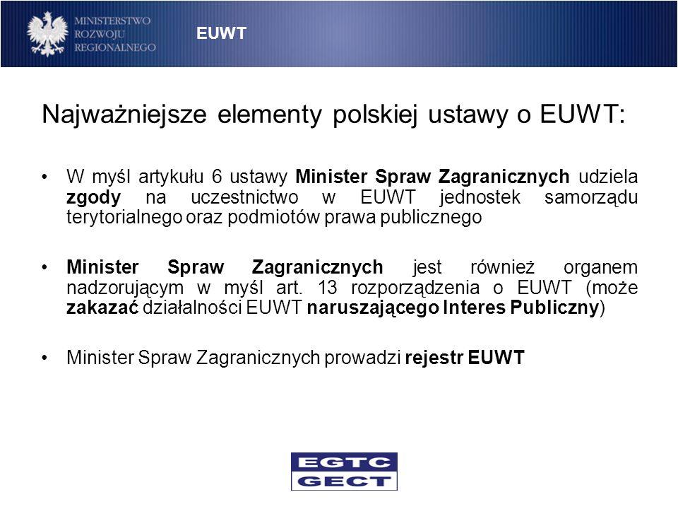 Najważniejsze elementy polskiej ustawy o EUWT: