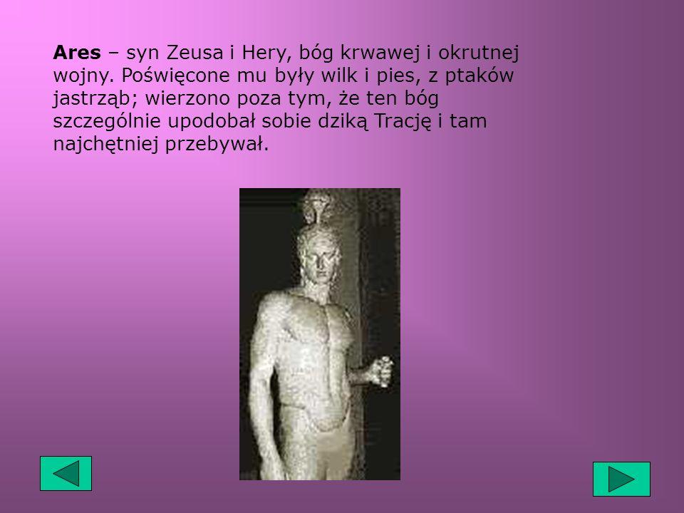 Ares – syn Zeusa i Hery, bóg krwawej i okrutnej wojny