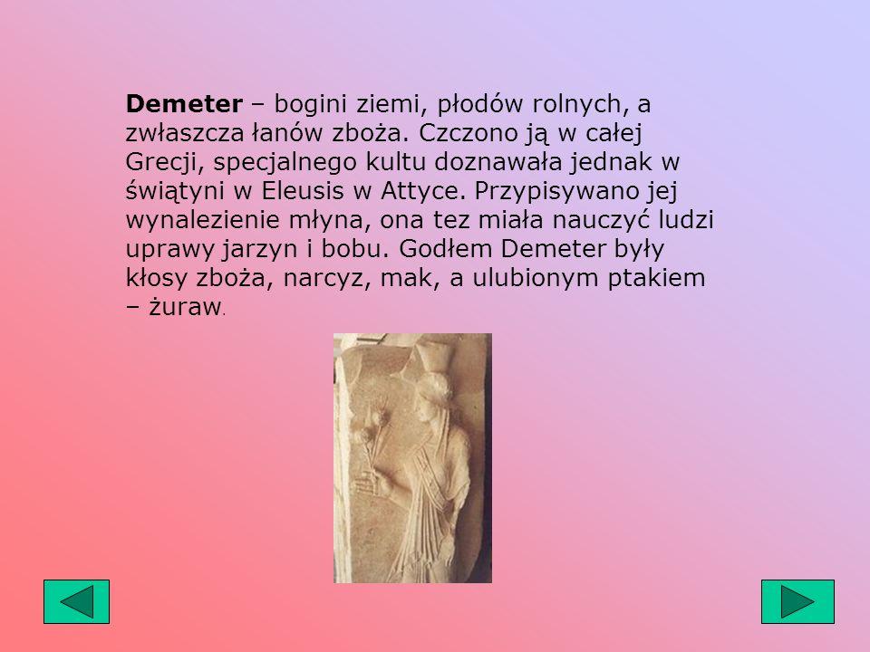 Demeter – bogini ziemi, płodów rolnych, a zwłaszcza łanów zboża