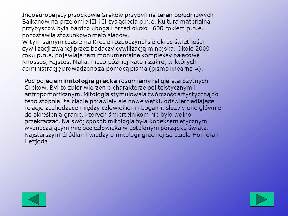 Indoeuropejscy przodkowie Greków przybyli na teren południowych Bałkanów na przełomie III i II tysiąclecia p.n.e. Kultura materialna przybyszów była bardzo uboga i przed około 1600 rokiem p.n.e. pozostawiła stosunkowo mało śladów. W tym samym czasie na Krecie rozpoczynał się okres świetności cywilizacji zwanej przez badaczy cywilizacją minojską. Około 2000 roku p.n.e. pojawiają tam monumentalne kompleksy pałacowe Knossos, Fajstos, Malia, nieco później Kato i Zakro, w których administrację prowadzono za pomocą pisma (pismo linearne A).