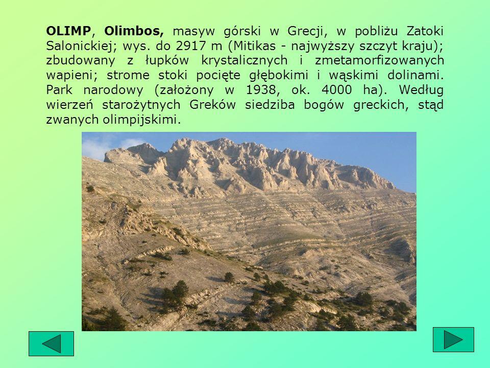 OLIMP, Olimbos, masyw górski w Grecji, w pobliżu Zatoki Salonickiej; wys.