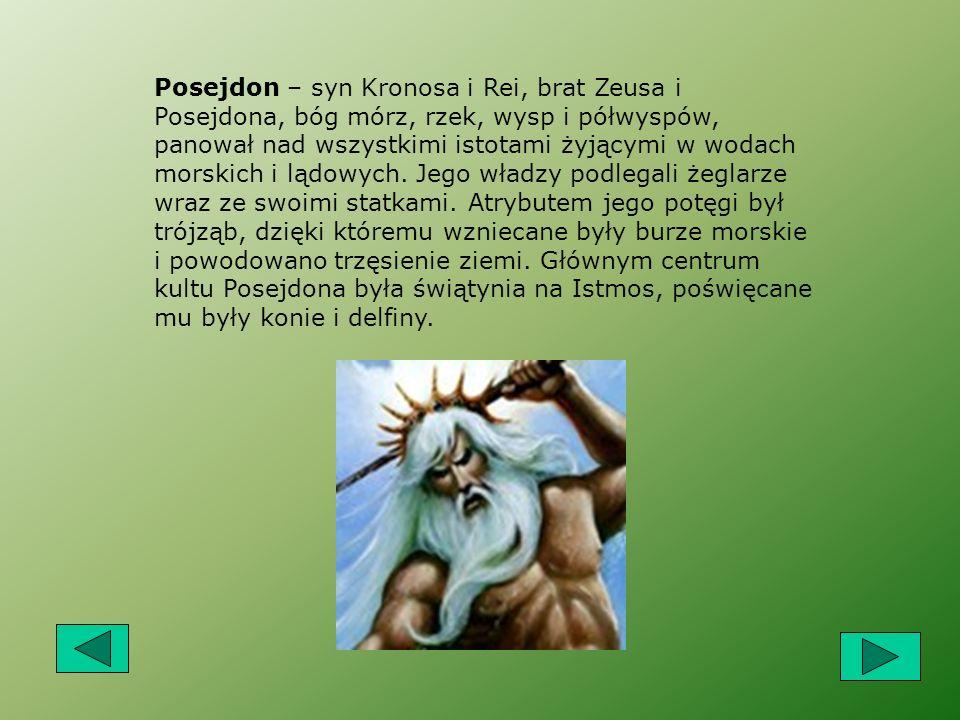 Posejdon – syn Kronosa i Rei, brat Zeusa i Posejdona, bóg mórz, rzek, wysp i półwyspów, panował nad wszystkimi istotami żyjącymi w wodach morskich i lądowych.
