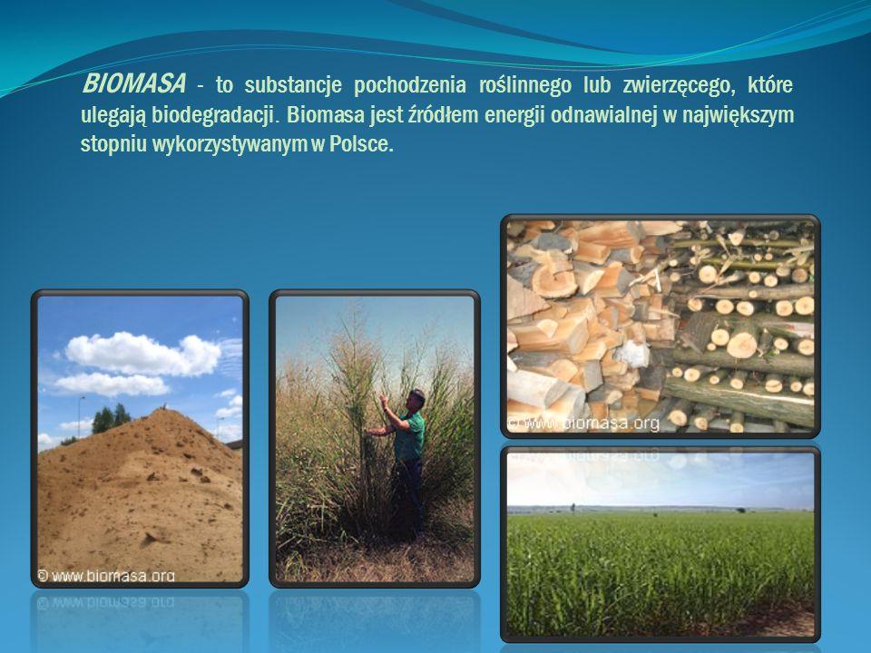 BIOMASA - to substancje pochodzenia roślinnego lub zwierzęcego, które ulegają biodegradacji.