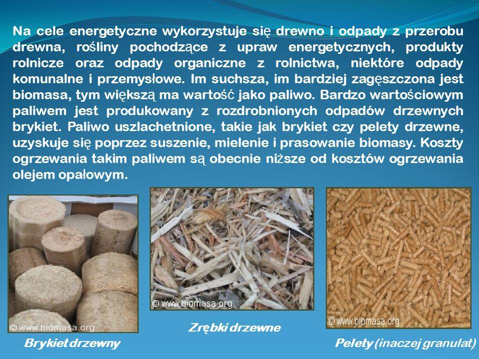Na cele energetyczne wykorzystuje się drewno i odpady z przerobu drewna, rośliny pochodzące z upraw energetycznych, produkty rolnicze oraz odpady organiczne z rolnictwa, niektóre odpady komunalne i przemysłowe. Im suchsza, im bardziej zagęszczona jest biomasa, tym większą ma wartość jako paliwo. Bardzo wartościowym paliwem jest produkowany z rozdrobnionych odpadów drzewnych brykiet. Paliwo uszlachetnione, takie jak brykiet czy pelety drzewne, uzyskuje się poprzez suszenie, mielenie i prasowanie biomasy. Koszty ogrzewania takim paliwem są obecnie niższe od kosztów ogrzewania olejem opałowym.