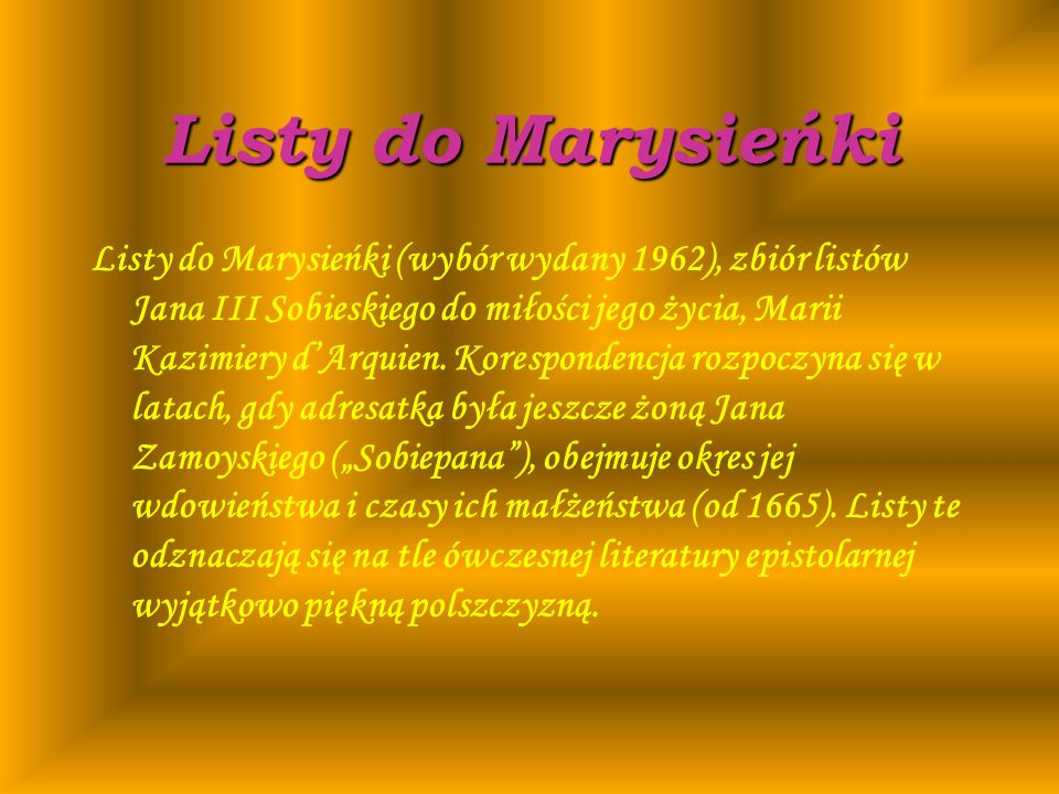 Listy do Marysieńki