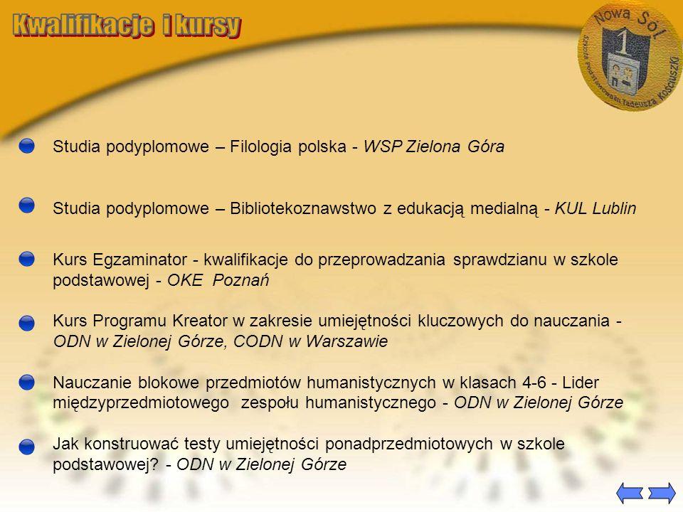 Kwalifikacje i kursy Studia podyplomowe – Filologia polska - WSP Zielona Góra.