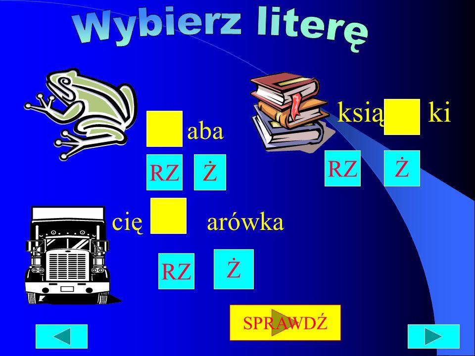 Wybierz literę ksią ki aba RZ Ż RZ Ż cię arówka Ż RZ SPRAWDŹ