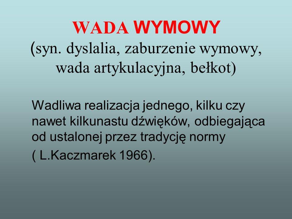 WADA WYMOWY (syn. dyslalia, zaburzenie wymowy, wada artykulacyjna, bełkot)