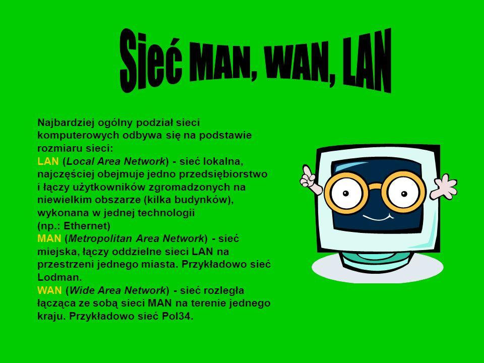 Sieć MAN, WAN, LAN Najbardziej ogólny podział sieci komputerowych odbywa się na podstawie rozmiaru sieci:
