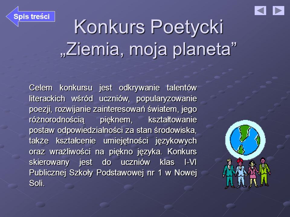 "Konkurs Poetycki ""Ziemia, moja planeta"