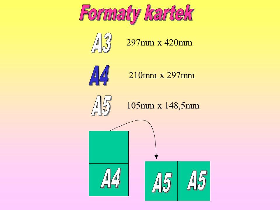 Formaty kartek A3 A4 A5 A4 A5 297mm x 420mm 210mm x 297mm