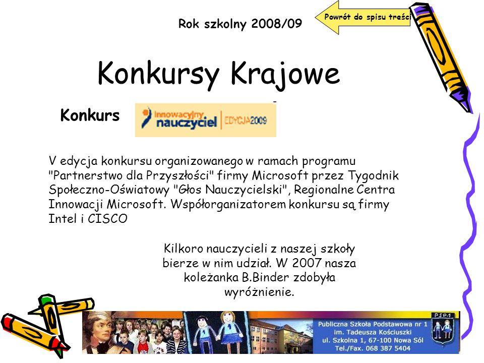 Konkursy Krajowe Konkurs Rok szkolny 2008/09